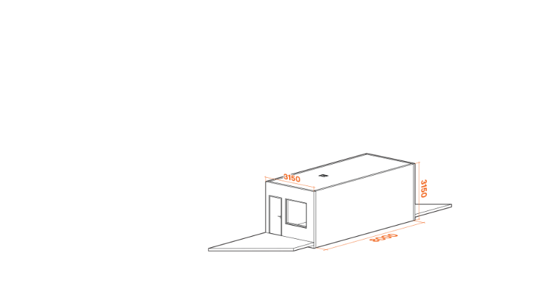 Picture showing the modular system and its dimensions